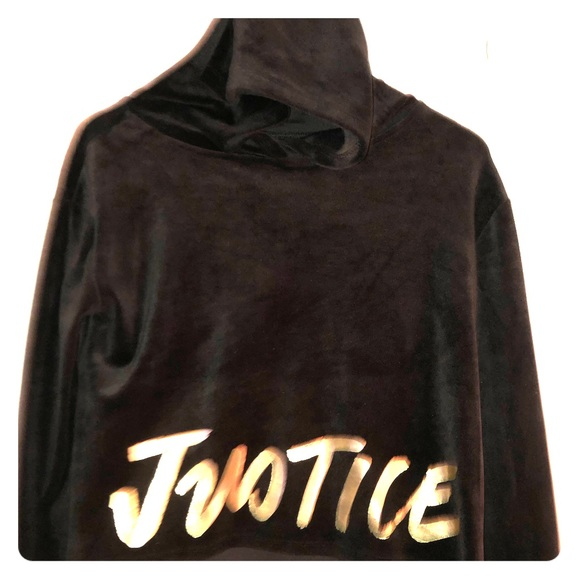 NWT Justice Girls Black Velour Hoodie Sweatshirt Choose Size!